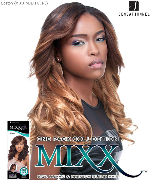 Sensationnel Mixx Multi Curl Long BOSTON - Human Blend Weave