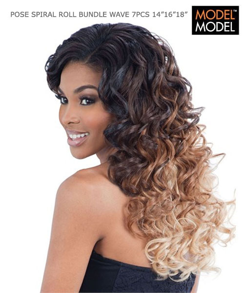Model Weave Extention Spiral Roll Bundle 7pc 14 16 18 Closure