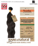Sensationnel 100% Unprocessed Remi Human Hair  Remi Human Weave Extension - HH NATURAL WAVY LITE 22-BRAZILIAN (B&N)