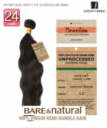 Sensationnel 100% Unprocessed Remi Human Hair  Remi Human Weave Extension - HH NATURAL WAVY LITE 24-BRAZILIAN (B&N)