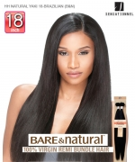 Sensationnel 100% Unprocessed Remi Human Hair  Remi Human Weave Extension - HH NATURAL YAKI 18-BRAZILIAN (B&N)