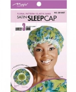 Magic Collection Satin Sleep Cap Floral Pattern Elastic Band