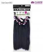New Born Free Hair Piece - ER8S3 Remi Touch 8pcs - Yaki Straight 18.20.22+Top Closure