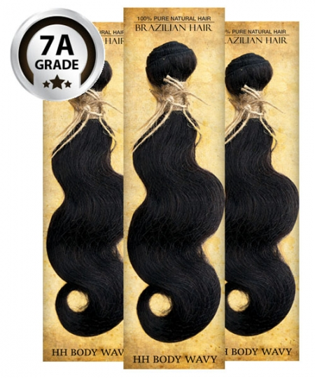 Top Hair Design  - BRAZILIAN 100% Virgin Human Hair BODY WAVY 3 PC(NATURAL COLOR) -  7A (105 Gram each, 3 bundle with free closure-$19.99 value)