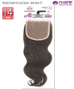 New Born Free Hair Piece - Brazilian Bundle 4x4 Lace Closure - Body wave 14