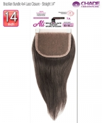 New Born Free Hair Piece - Brazilian Bundle 4x4 Lace Closure - Straight  14