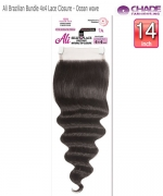 New Born Free  Remi Human Hair Piece- Ali Brazilian Bundle 4x4 Lace Closure - Ocean wave 14