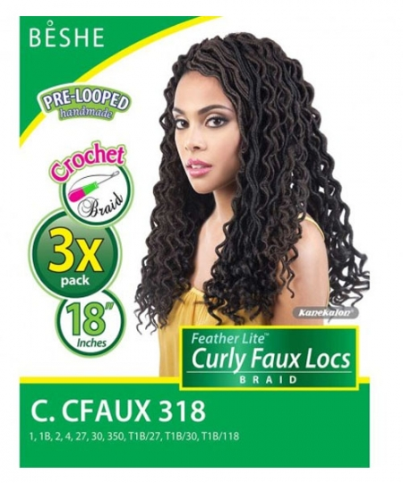 Beshe Synthetic Braid - C.CFAUX318 Feather Lite Pre-Loop Curl Fauxloc 18 3 Pack