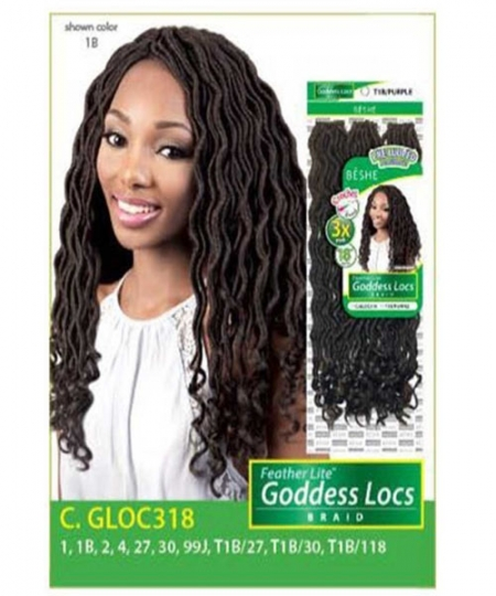 Beshe Synthetic Braid - C.GLOC318 Feather Lite Pre-Loop Goddess Locs 18 3 Pack
