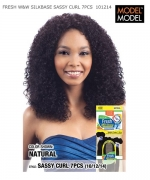 Model Model Human Hair Weave Extension - FRESH W&W SILKBASE SASSY CURL 7PCS 10