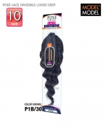 Model Model Human Hair Blend Weave Extention - POSE LACE INVISIBLE PART CLOSURE LOOSE DEEP 10