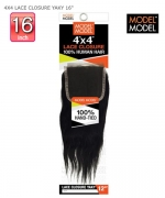 Model Model Brazilian Remy Human Hair Weave - NUDE LEAF 4X4 LACE CLOSURE YAKY 16