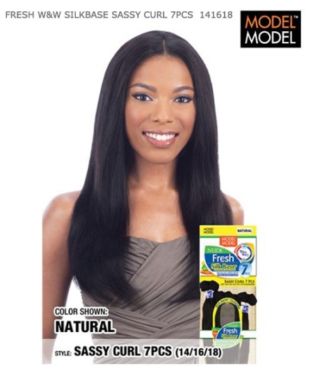 "Model Model  Human Hair Weave Extension - FRESH W&W SILK BASE SASSY CURL 7PCS 14""16""18"""