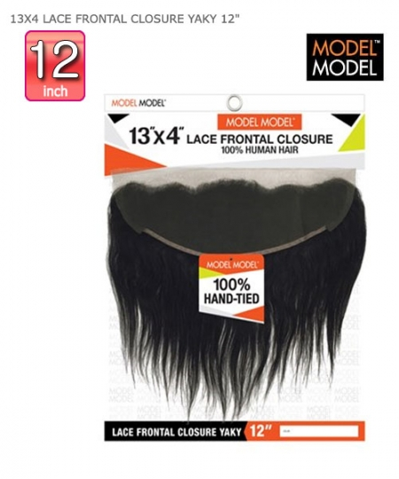Model Model Human Hair Piece - 13X4 LACE FRONTAL CLOSURE YAKY 12""