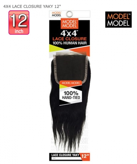 Model Model Human Hair Piece - 4X4 LACE CLOSURE YAKY  12""