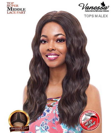 Vanessa TOPS M ALEX - Synthetic Express Swissilk Lace Middle Part Lace Front Wig