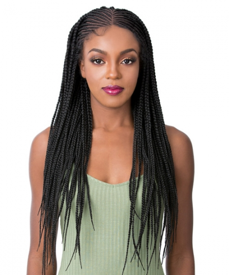 It's a wig Synthetic  Lace Front - MICRO CORNROW ROW BOX BRAID